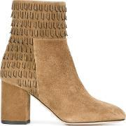 Fringed Ankle Boots Women Leathersuede 37, Women's, Nudeneutrals