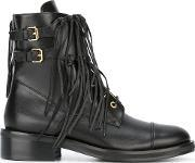 Fringed Trim Boots Women Leatherrubber 38.5, Women's, Black