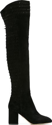 Over The Knee Boots Women Leathersuede 40, Black