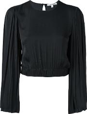 Elizabeth And James Pleated Sleeve Cropped Blouse Women Polyester S, Black