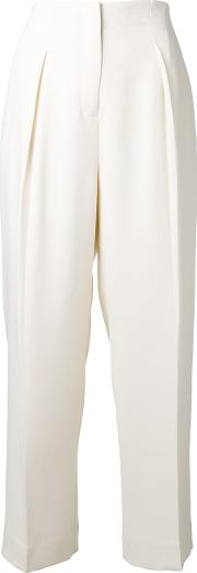 Straight Trousers Women Polyesterpolyurethanespandexelastane 4, White