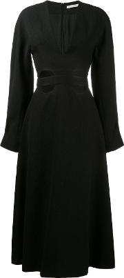Cut Out Flared Dress Women Silkpolyamidepolyester 12, Black