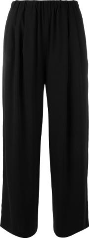 Cropped Trousers Women Polyester 38, Black