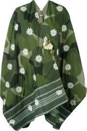 Floral Geometric Print Poncho Women Nylonviscosewoolother Fibers One Size, Women's, Green