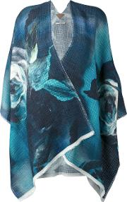 Floral Print Cape Women Linenflaxviscosepolyamide One Size, Blue