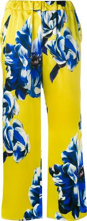 Floral Trousers Women Silk M, Yellow
