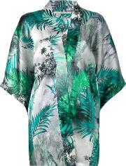 Flower Print Cardigan Women Silk L, Green