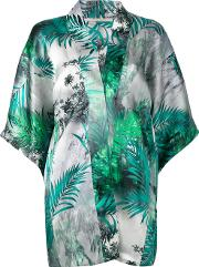 Flower Print Cardigan Women Silk M, Green