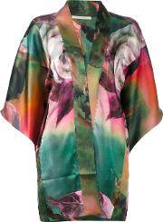 Flower Print Cardigan Women Silk M, Women's