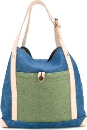 Top Handles Patch Tote Women Cottonleather One Size, Women's, Blue