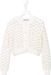 Embroidered Open Knit Cardigan Kids Nylonmohairwool 6 Yrs, Girl's, White