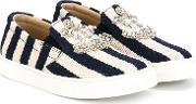 Striped Slip On Sneakers Kids Goat Skincalf Suedemetalglass 33, Blue