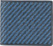 Checked Wallet Men Calf Leather One Size, Blue