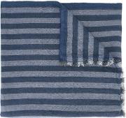 Striped Scarf Men Silklinenflaxcashmere One Size, Blue