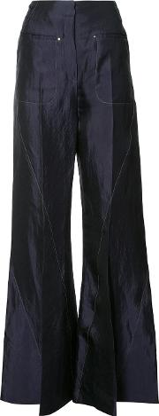 Flared Trousers Women Linenflaxcupro 34, Blue