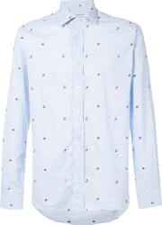 Butterfly And Ladybird Embroidered Shirt Men Cotton 39, Blue