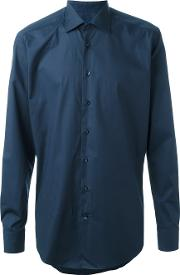 Classic Shirt Men Cottonspandexelastane 39, Blue