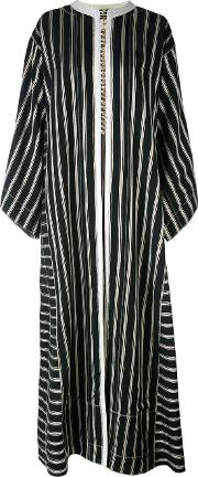 Collarless Long Striped Duster Coat