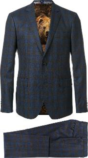 Etro Checked Two Piece Formal Suit Men Cottoncuproviscosewool 52, Blue