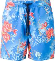 Floral Print Swim Shorts Men Nylon S, Blue