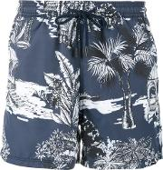 Hawaiian Print Swimming Trunks Men Nylon Xl, Blue