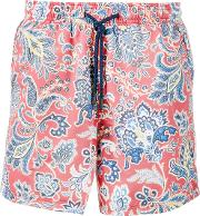 Paisley Print Swim Shorts Men Nylon L, Red