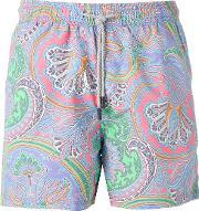 Paisley Print Swim Shorts Men Nylon S