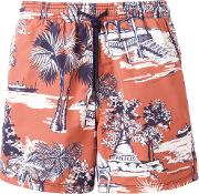 Printed Swim Shorts Men Nylon M, Yelloworange