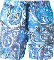 Spiral Print Swim Shorts Men Nylon S