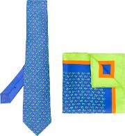 Turtle Print Tie And Pocket Square