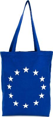 Embroidered Star Tote Men Cotton One Size, Blue