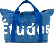 Logo Stamped Tote Bag Unisex Cottonpolyesterpolypropylene One Size, Blue