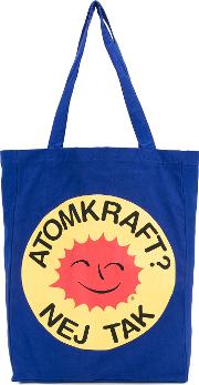 October Smiling Sun Tote Unisex Cotton One Size, Blue