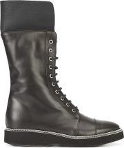 Lace Up Mid Calf Boots Women Leather 37