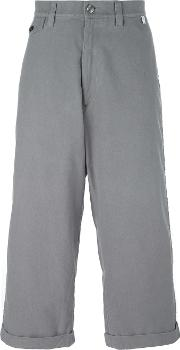 Wide Legged Cropped Trousers Men Cotton Iv, Grey