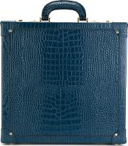 Crocodile Effect Sunglasses Briefcase Unisex Woodcalf Leather One Size, Blue