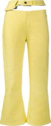 Cut Out Cropped Jeans Women Cotton Xxs, Women's, Yelloworange