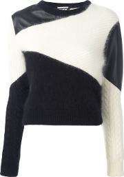 Colour Block Jumper Women Lamb Skinangorawoolnylon 12 40, Women's, White