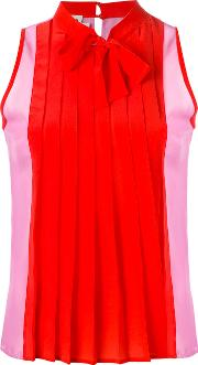 Pleated Blouse Women Silk 42, Red