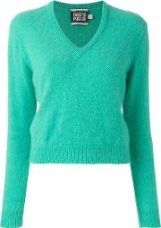 V Neck Jumper Women Polyamideangorawool 44, Green