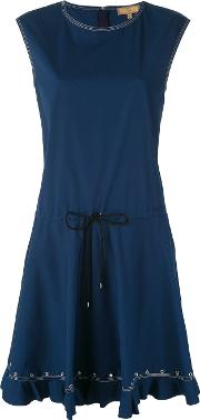 Sleeveless Drawstring Dress Women Cottonspandexelastane M, Blue