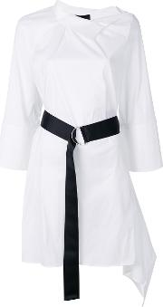 Contrast Belt Shirt Dress