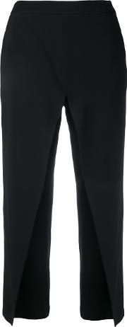 Cropped High Waisted Trousers Women Spandexelastaneviscose M, Black