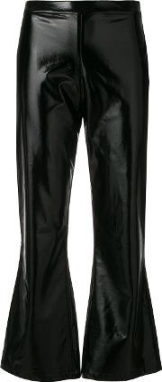 Flared Hem Glossy Cropped Trousers