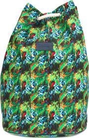 Tropical Print Backpack Unisex Canvas One Size, Green