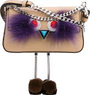 Feather Trim Crossbody Bag Women Leathervegetable Sheep Skin  Nudeneutrals