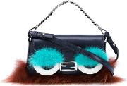 Micro 'baguette' Crossbody Bag Women Fox Furleathermink Fur One Size, Black