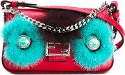 Micro Baguette Crossbody Bag Women Fox Furleathermink Fur One Size, Red