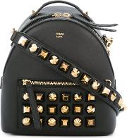 Studded Backpack Women Calf Leather One Size, Black