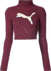 Cropped Logo Turtleneck Jumper
